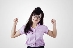Strong businesswoman expressing success Stock Image