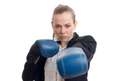 Strong busniess woman in boxing gloves Stock Photography