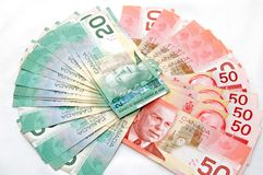 Strong canadian dollar 3. A Strong 50s and 20s canadian dollars stock images