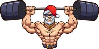 Strong cartoon Santa Claus lifting weights. stock illustration