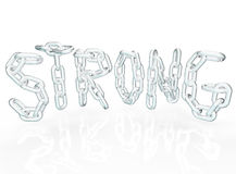Strong Chain Link Word Letters Metal Chains. The word Strong in chain links representing strength in partnership, cooperation, teamwork, unity, community and Stock Photography