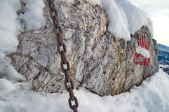 Strong chain on rock Stock Photos