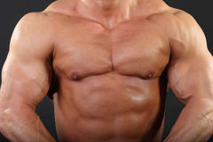 Strong chest and hand muscles of bodybuilder. Strong chest and hand muscles of undressed tanned bodybuilder Stock Image