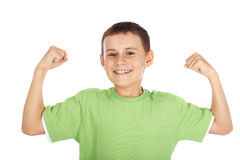 Strong child. Portrait of a strong child showing off stock photo
