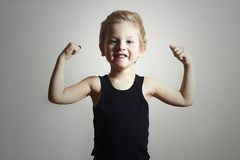 Free Strong Child. Funny Little Boy.Sport Handsome Boy Stock Image - 40031841