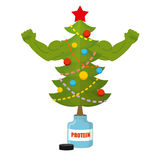 Strong Christmas tree . Bodybuilder Tree athlete with big muscle Stock Photo