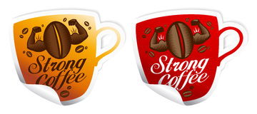 Strong coffee stickers. Strong coffee stickers in form of cup Royalty Free Stock Photography