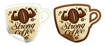 Strong coffee stickers. Royalty Free Stock Image