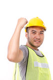 Strong and confident construction worker. On white background Stock Photos