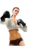 Strong confident woman boxing Stock Image