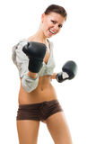 Strong confident woman boxing Stock Images