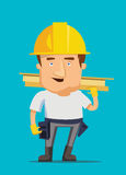 Strong construction worker building and golding iron bar on a real estate  illustration Royalty Free Stock Photos