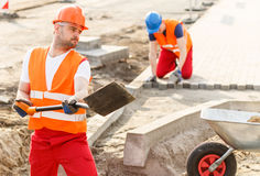 Strong construction worker Royalty Free Stock Image