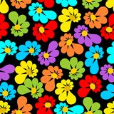 Strong contrasting seamless background with asymmetrical flowers. On black area Royalty Free Stock Photo