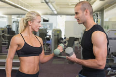 Strong couple lifting hand weights together. At the gym Royalty Free Stock Photos