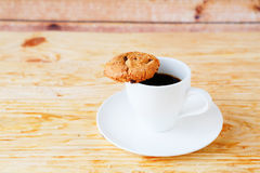 Strong cup of coffee and cookies, food Royalty Free Stock Images