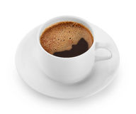Strong cup of organic coffee with foam Stock Images