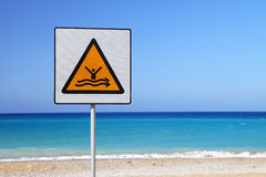 Strong current sign. On beach with blue sea in the background Royalty Free Stock Photos
