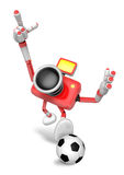 Strong 3d Camera character kicking a soccer ball. Create 3D Came Stock Photography