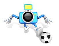 Strong 3d Camera character kicking a soccer ball. Create 3D Came Stock Images