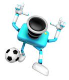 Strong 3d Camera character kicking a soccer ball. Create 3D Came Stock Photos