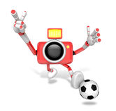 Strong 3d Camera character kicking a soccer ball. Create 3D Came Royalty Free Stock Image