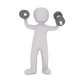 Strong 3D rendered figure holds dumbbells. In either hand as he stands against a white background Stock Photos