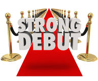 Strong Debut Red Carpet 3D Words Launching New Product Business Stock Photography