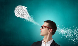 Strong decision making ability. Thoughtful businessman and ideas coming out of his head Royalty Free Stock Photo