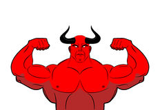 Strong demon with horns. Powerful red devil. Satan bodybuilder Stock Photography