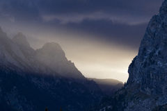 Strong directional light beam in cascade canyon of the Tetons Royalty Free Stock Photography