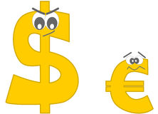 Strong dollar and the afraid euro funny cartoon Stock Images