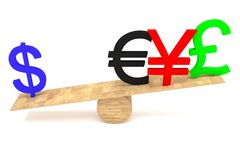 Strong Dollar: currencies on a wooden seesaw Royalty Free Stock Photography