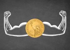 Strong dollar. Financial concept. Drawn muscle on blackboard. Closeup Royalty Free Stock Photography