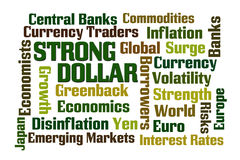 Strong Dollar. Word cloud on white background Royalty Free Stock Image