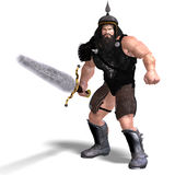Strong dwarf with sword. 3D rendering of a strong dwarf with sword with clipping path and shadow over white Royalty Free Stock Photos