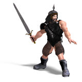 Strong dwarf with sword. 3D rendering of a strong dwarf with sword with clipping path and shadow over white Stock Photo