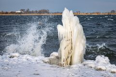 Bizarre Iceforms on the Shore of a Lake During a Cold Spell royalty free stock photography