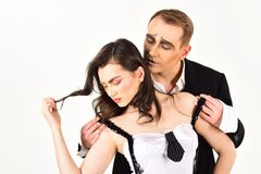 Strong emotional bonds. Couple of mime artists perform romantic scene. couple in love with mime makeup. Mime man. Strong emotional bonds. Couple of mime artists stock photography
