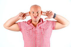 Strong emotional man in shirt on white background stock images