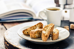 Strong espresso and book. Perfect morning awake Stock Image