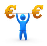 Strong Euro. Weightlifter lifting Euro symbol. Concept of strong currency and business based on strong and healthy economy and strong leadership Stock Image
