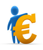Strong Euro. Blue figure holds golden Euro sign. Concept of strong currency and richness Royalty Free Stock Photography