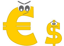 Strong euro and the afraid dollar funny cartoon Stock Image