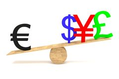 Strong Euro: currencies on a wooden seesaw Royalty Free Stock Photo