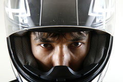 Strong eyes. In bike helmet, isolated Royalty Free Stock Photography