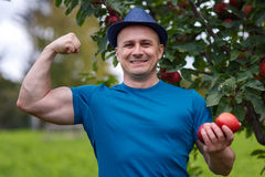 Strong farmers offering apples Royalty Free Stock Photos