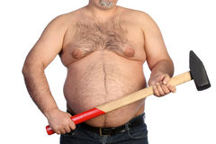 Strong fat man holding a big hammer Royalty Free Stock Image