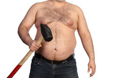 Strong fat man holding a big hammer Stock Image