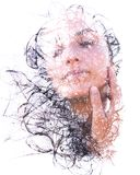 Paintography. Double Exposure portrait of a seductive ethnic wom Royalty Free Stock Images